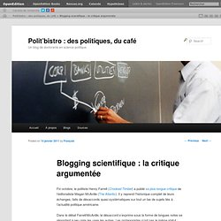 Blogging scientifique : la critique argumentée