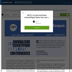 2013: Le journalisme scientifique dans les controverses
