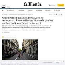 Coronavirus: masques, travail, écoles, transports… Le conseil scientifique très prudent sur les conditions du déconfinement