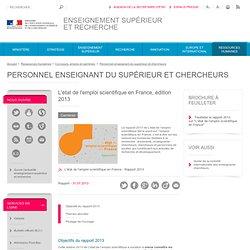 L'état de l'emploi scientifique en France, édition 2013