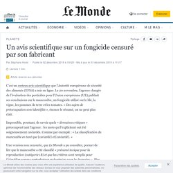 LE MONDE 02/12/19 Un avis scientifique sur un fongicide censuré par son fabricant (mancozèbe)