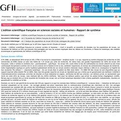 L'édition scientifique française en sciences sociales et humaines - Rapport de synthèse