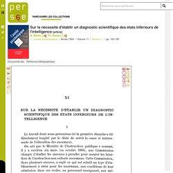 Sur la nécessité d'établir un diagnostic scientifique des états inférieurs de l'intelligence