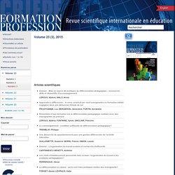 Différenciation/Efficacité - revue scientifique internationale en éducation Numero View