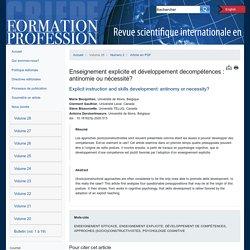 Formation et profession : revue scientifique internationale en éducation Article Live