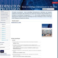 Formation et profession : revue scientifique internationale en éducation Home