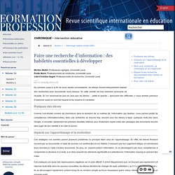 Formation et profession : revue scientifique internationale en éducation 263