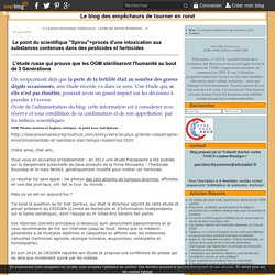 "BLOG PAROLES CITOYENNES 10/03/15 Le point du scientifique ""Spirou""+procés d'une intoxication aux substances contenues dans des pesticides et herbicides"