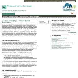 4.1 Suivi scientifique : introduction et généralités