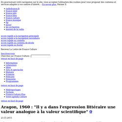 """Aragon, 1960 : """"Il y a dans l'expression littéraire une valeur analogue à la valeur scientifique"""" - Littérature"""