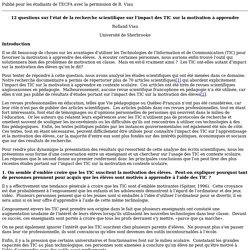 Acitivité 7.2 - 12 questions sur l'état de la recherche scientifique sur l'impact des TIC sur la motivation à apprendre