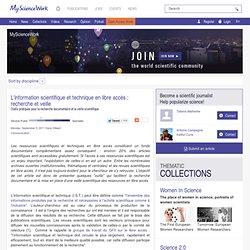 L'information scientifique et technique en libre accès : recherche et veille - News MyScienceWork