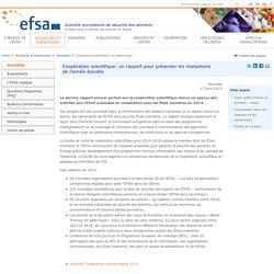 EFSA 17/04/15 Coopération scientifique: un rapport pour présenter les réalisations de l'année écoulée