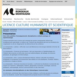 Licence Culture Humaniste et scientifique