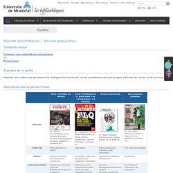 Revues scientifiques / Revues populaires - Impression - Bibliothèques - Université de Montréal