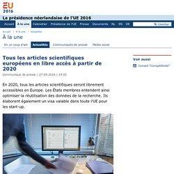 Tous les articles scientifiques européens en libre accès à partir de 2020