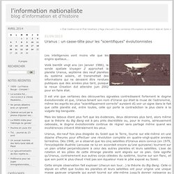 """Uranus : un casse-tête pour les """"scientifiques"""" évolutionnistes : l'information nationaliste"""