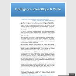 Quel droit pour les articles scientifiques? (ADBS)