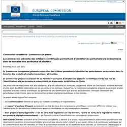 La Commission présente des critères scientifiques permettant d'identifier les perturbateurs endocriniens dans le domaine des pesticides et biocides