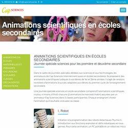 Animations scientifiques en écoles secondaires - Cap Sciences