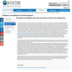 OCDE - Intégrité scientifique: prévenir la fraude et traiter des allégations