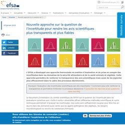 EFSA 24/01/18 Nouvelle approche sur la question de l'incertitude pour rendre les avis scientifiques plus transparents et plus fiables