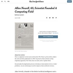 Allen Newell, 65; Scientist Founded A Computing Field