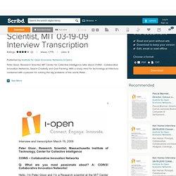 Peter Gloor, Research Scientist, MIT 03-19-09 Interview Transcription