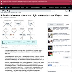 Scientists discover how to turn light into matter after 80-year quest