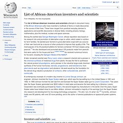 List of African-American inventors and scientists