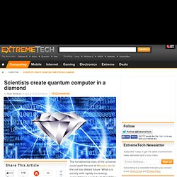 Scientists create quantum computer in a diamond