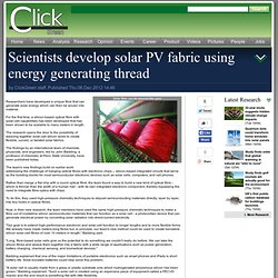 Scientists develop solar PV fabric using energy generating thread > Data > Research
