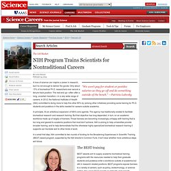 NIH Program Trains Scientists for Nontraditional Careers