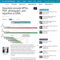 Scientists encode MP3s, PDF, photograph, and algorithm to DNA