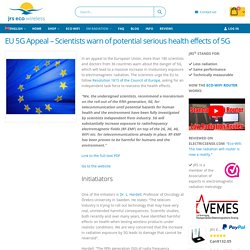 EU 5G Appeal – Scientists warn of potential serious health effects of 5G – JRS Eco Wireless