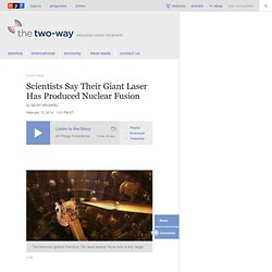 Scientists Say Their Giant Laser Has Produced Nuclear Fusion : The Two-Way