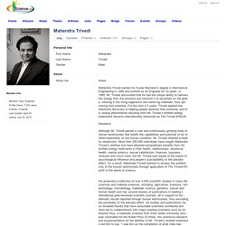 Scientists and Researchers Network - I am in Science - Member Profile - Mahendra Kumar Trivedi