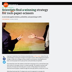 Scientists find a winning strategy for rock-paper-scissors