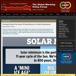 Scientists Divided Over Impact Of Solar Minimum On Global Temperatures