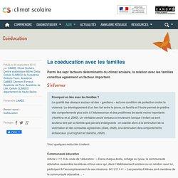Climat scolaire - La coéducation avec les familles