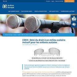 CDEH : Déni du droit à un milieu scolaire inclusif pour les enfants autistes – Autism Europe