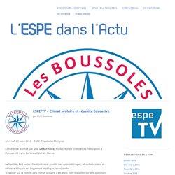 ESPE/TV – Climat scolaire et réussite éducative