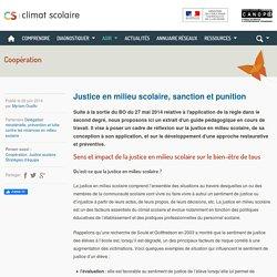 Climat scolaire - Justice en milieu scolaire, sanction et punition