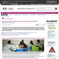 L'école maternelle et les nouveaux rythmes scolaires - recommandations en maternelle