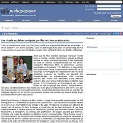 Les rituels scolaires analysés par Recherches en éducation