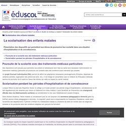 Scolarisation des enfants malades - La scolarisation des enfants malades