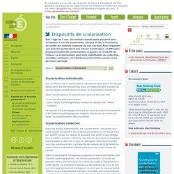 Dispositifs de scolarisation - rubrique 'Élèves' - 'Handicapetbesoins particuliers'