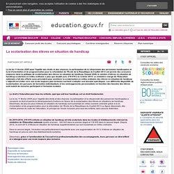 La scolarisation des élèves en situation de handicap