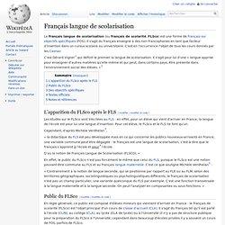 Français langue de scolarisation