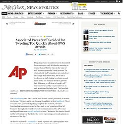 Associated Press Staff Scolded for Tweeting Too Quickly About OWS Arrests